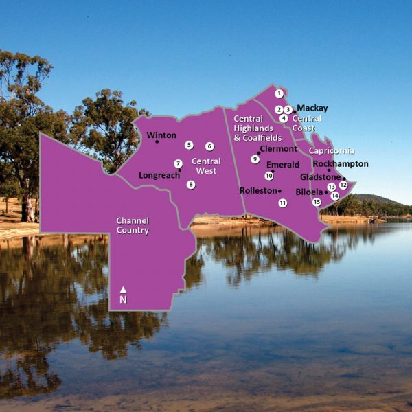 Map of Central Regions of Queensland Square Image