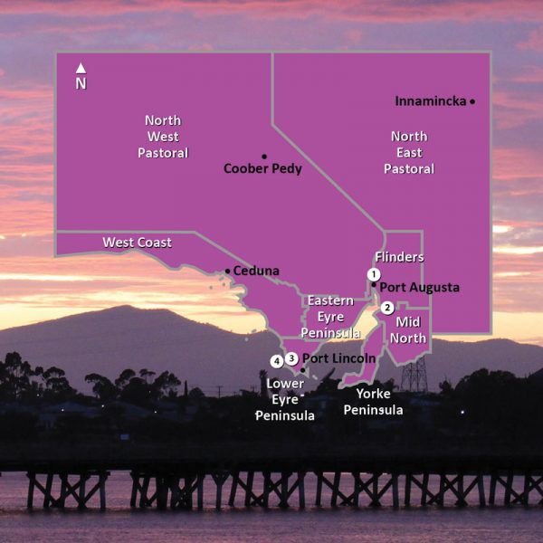 Map of Regions in the North & West of South Australia Square Image
