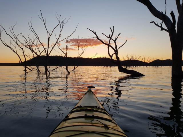 Sunset kayaking at Lake Glenbawn