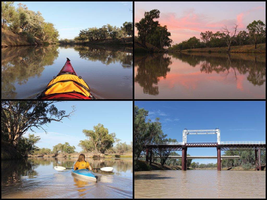 Kayaks, sunrise, and bridge at the Darling River in Bourke