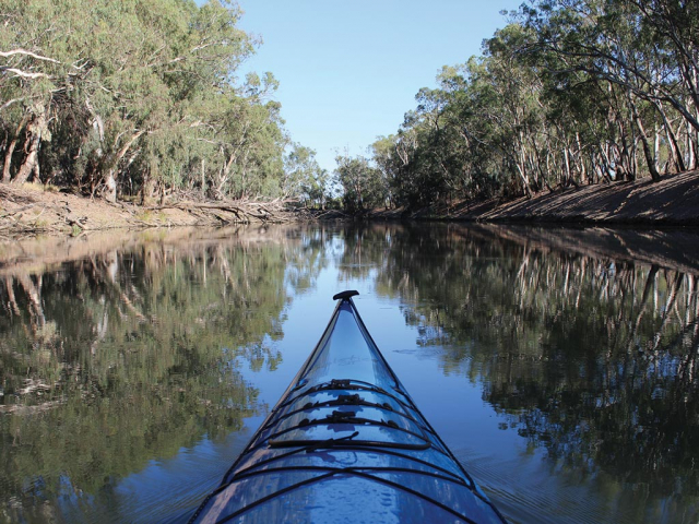 Kayak on the Murrumbidgee River at Balranald