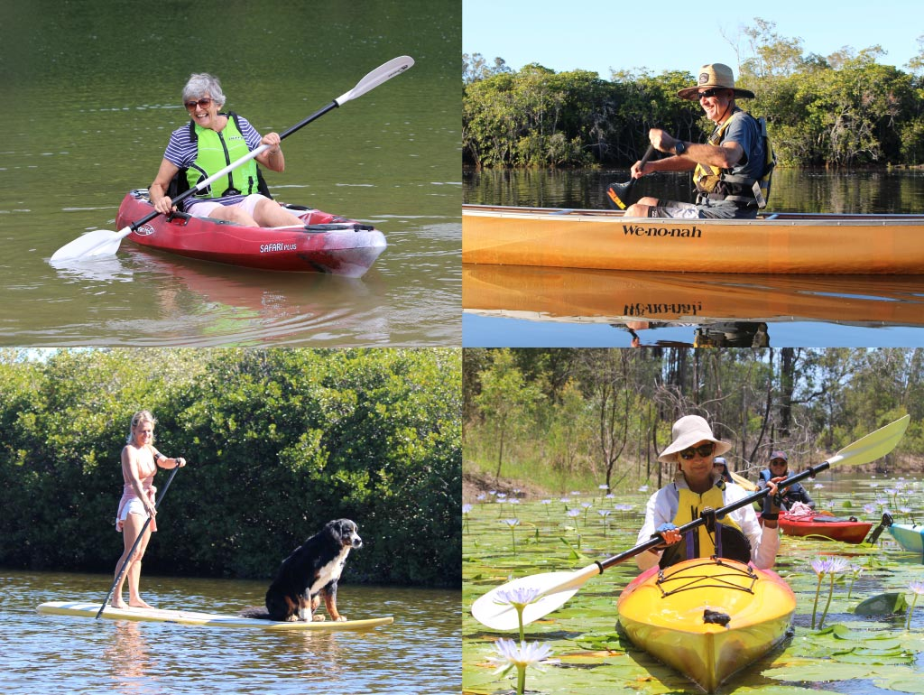 Four photographs of people using different types of paddles