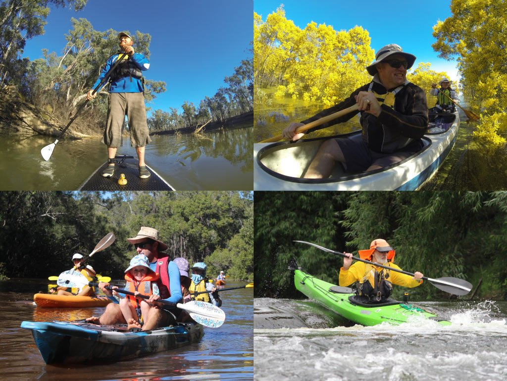 A montage of four photographs of people paddling different types of craft