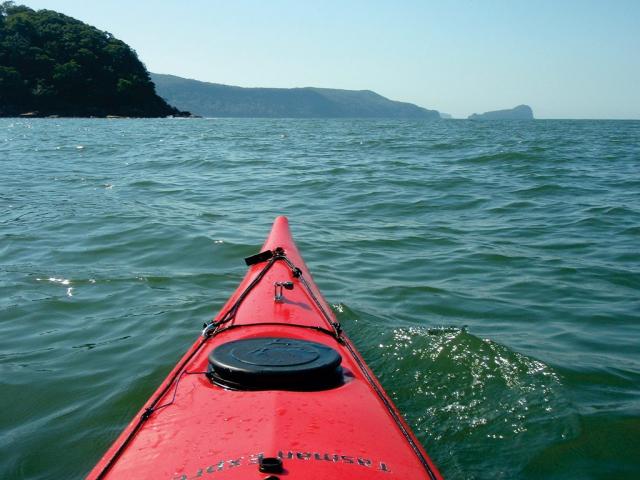 Kayak at Juno Point on the Hawkesbury River heading toward Lion Island