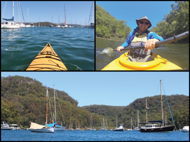 Kayaks and moored yachts on Pittwater near McCarrs Creek