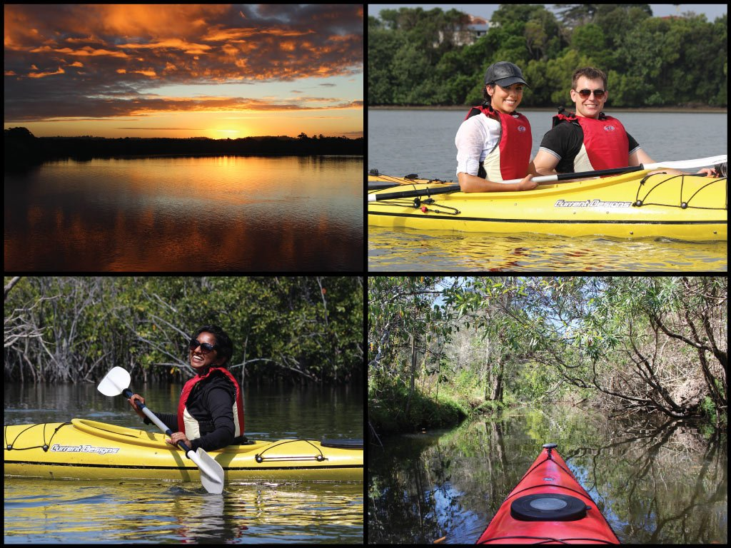 Happy kayakers and sunset at North Creek in Ballina