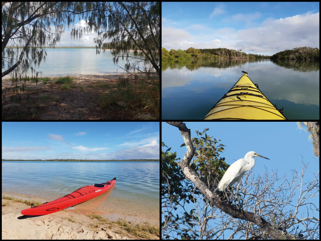 Kayaks, egret, and casuarinas at Theodolite Creek in Woodgate