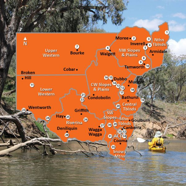 Map of Inland Regions of New South Wales Square Image